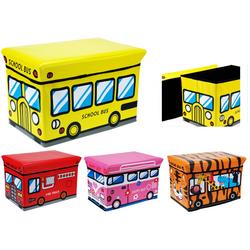 Spielzeugkiste - Spielkiste - Safari-Bus, Feuerwehr, Schulbus