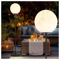 etc-shop LED Außen-Stehlampe, 2x LED Solar Außen Steh Lampe Marmor-Optik Stand Garten Strahler Kugel Leuchte