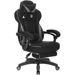 Woltu Gaming-Stuhl, Gaming Stuhl aus Stoff mit Lendenkissen Hani grau