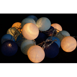 Guru-Shop LED-Lichterkette Stoff Ball Lichterkette, LED Kugel Lampion..