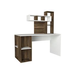 moebel17 Schreibtisch Schreibtisch Coral Weiß Walnuss