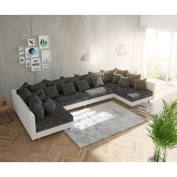 DELIFE Wohnlandschaft Clovis XL Weiss Schwarz modular, Design Wohnlandschaften, Couch Loft, Modulsofa, modular