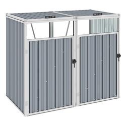 vidaXL Mülltonnenbox vidaXL Mülltonnenbox für 2 Mülltonnen Grau 143×81×121 cm Stahl