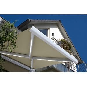 Home Deluxe - LED Vollkassettenmarkise mit Wind- und Sonnensensor - ELOS Sandfarben - komplett inkl. Montagematerial - 600 x 300 cm   Terrassenüberdachung Sonnenschutz Windschutz