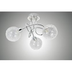 TRANGO LED Deckenleuchte, 1002-38 LED Deckenleuchte 3-flammig Chromoptik Serie *AMELIA* inkl. 3x G9 LED Leuchtmittel 3.000K warmweiße Lichtfarbe Badleuchte, Flurleuchte, Küchenleuchte, LED Deckenlampe, Kronleuchter
