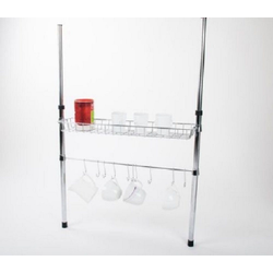 NATIV Haushalt Küchenregal, Stück 1-tlg., Küchenregal mit Teleskopstangen, Höhe von 60 - 80 cm verstellbar
