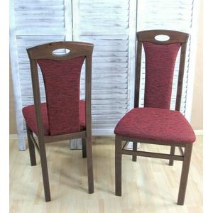 2x Esszimmerstühle Massivholz Nussbaum-Dunkel/Bordeauxrot Esszimmerstuhl