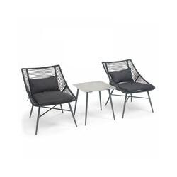 Salon de jardin en cordes (65 x 81 x 85 cm) avec 2 fauteuils et table basse Costa Rica - Noir - Noir