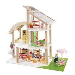 howa Puppenhaus Strandvilla, aus Holz, inkl. 30 tlg. Möbelset und 4 Puppen weiß