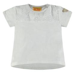 Steiff Girls T-Shirt mit Lochmuster, weiß