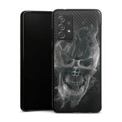 DeinDesign Handyhülle Smoke Skull Carbon Samsung Galaxy A72, Hülle Totenkopf Schädel Carbon schwarz