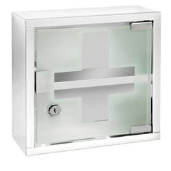 WENKO Medikamentenschrank, Edelstahl glänzend, Dekorativer Arzneischrank zur sicheren Aufbewahrung von Medikamenten, Maße: 25 x 25 cm