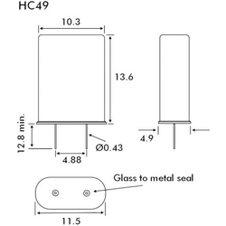 EuroQuartz Quarzkristall QUARZ HC49 HC49 16.000MHz 18pF (L x B x H) 4.9 x 10.3 x 13.6mm