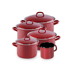 Riess Topf-Set Topfset 5-teilig RED, Emaille, (5-tlg), Topfset