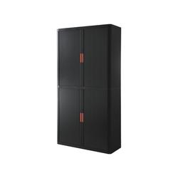 EASYOFFICE Rollladenschrank easyOffice Korpus schwarz, Griff farbig rot 110 cm x 204 cm x 41.5 cm