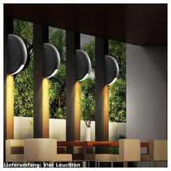 etc-shop Wandleuchte, 4er Set Hauswand Leuchten Außen Strahler Lampen im Set inklusive LED Leuchtmittel