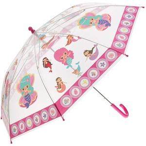 Idena 50048 - Kinderregenschirm für Mädchen, mit zauberhaftem Meerjungfrauenmotiv auf transparentem Kunststoff, Durchmesser ca. 83 cm, Länge ca. 66 cm