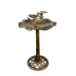 BigDean Vogeltränke Vogel auf Blatt mit Futterschale Vogelbad Wasserschale Gartendeko aus Kunststoff bronze 85cm braun