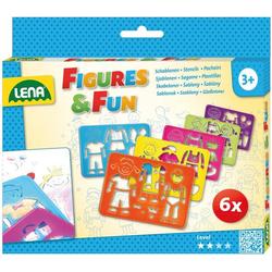 LENA® 65750 - Figures & Fun, Schablonen, 6 Zeichenschablonen Set, Malschablonen