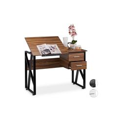 relaxdays Schreibtisch Schreibtisch neigbar braun