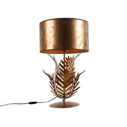 Vintage Tischlampe Gold mit Bronzeschirm - Botanica
