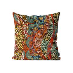 Kissenbezug, VOID (1 Stück), Afrika Leoprint Ethnomuster Kissenbezug Muster gemustert tropisch afrikanisch 80 cm x 80 cm