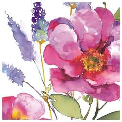 Linoows Papierserviette 20 Servietten Sommer, Lavendel und Große Rosen, Motiv Sommer, Lavendel und Große Rosen