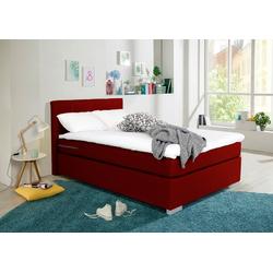 my home Boxbett Laurin, Härtegrad 3, mit Topper rot 132 cm x 20 cm x 54 cm