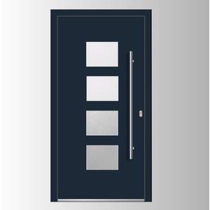 Haustür Welthaus WH75 Standard Aluminium mit Kunststoff LA535 London Tür 1100x2100mm DIN Rechts Farbe aussen anthrazit Innen weiß außengriff BGR1400 innendrucker M45 Zylinder 5 Schlüßel
