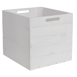 CHICCIE Holzkiste Kallax Aufbewahrungsbox Weiß 33x38x33cm (2 Stück)