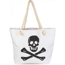 styleBREAKER Strandtasche, Strandtasche mit Totenkopf weiß
