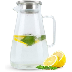 Intirilife Karaffe Krug mit Henkel und Deckel, für heiße und kalte Getränke, Tee, Kaffee, Wasser uvm.