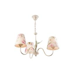 Licht-Erlebnisse Kronleuchter LOREN, Kronleuchter Wohnzimmer Shabby Weiß floral Esstisch Hängelampe bunt