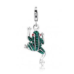 Nenalina Charm-Einhänger Anhänger Frosch Swarovski® Kristalle 925 Silber