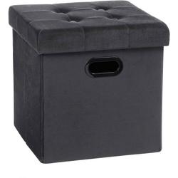 Woltu Sitzhocker, Sitzhocker Sitzwürfel Aufbewahrungsbox aus Samt grau