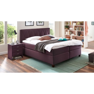 Boxspringbett mit wählbarer Matratze 200x200 cm violett - Midway
