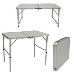 AMANKA Campingtisch Klappbarer höhenverstellbarer Campingtisch, 90x60x70 cm Kofferformat Grau