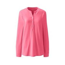 Langes Shirt mit Knopfmanschetten, Damen, Größe: L Normal, Pink, Modal, by Lands' End, Zinnie - L - Zinnie