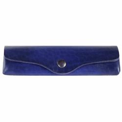 Mika Brillenetui Leder 15 cm blau