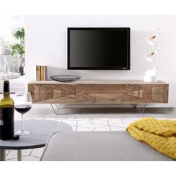 DELIFE TV-Board Wyatt, Sheesham Natur 175 cm 2 Türen 1 Klappe Lowboard natur