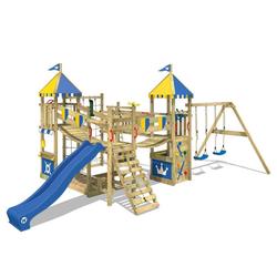 Wickey Spielturm Ritterburg Smart Queen mit Schaukel & Rutsche, Spielhaus mit Sandkasten, Kletterleiter & Spiel-Zubehör blau