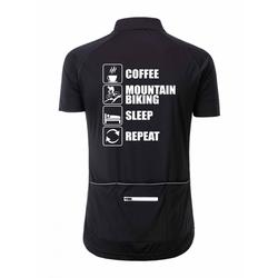 "Herren Rad-Trikot Fullzip ""Coffee-Mountainbike-Sleep-Repeat"""