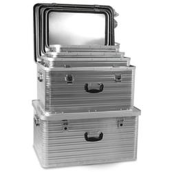 Alu-Transportboxen-Set, je 1x27/45/69/101/141l, Wände geschlossen, Boden geschlossen