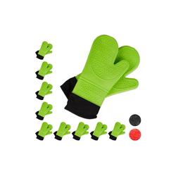 relaxdays Topfhandschuhe 10x Ofenhandschuhe Silikon grün