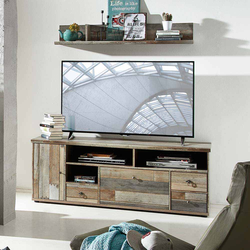 TV Board in Grau Treibholz Dekor Shabby Chic
