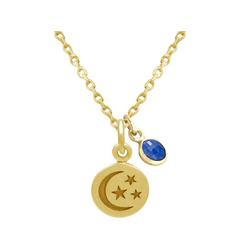 Gemshine Kette mit Anhänger Mond mit Sternen SAPHIR, Made in Spain goldfarben