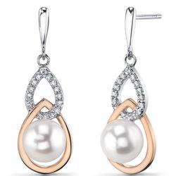 Elegante Perlohrringe aus Silber mit Zirkonia Masine