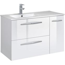CYGNUS BATH Waschtisch Basilea, Breite 85 cm, Waschmulde links weiß