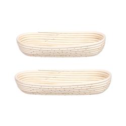 BigDean Gärkorb Gärkörbchen für Brot−Teig − Korb für Hobby−Bäcker − oval 1 kg und 1,5 kg, (2-tlg)