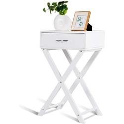 COSTWAY Nachttisch Beistelltisch, mit Schublade, x-förmiges Design